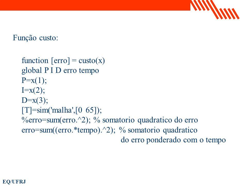 Função custo: function [erro] = custo(x) global P I D erro tempo. P=x(1); I=x(2); D=x(3); [T]=sim( malha ,[0 65]);